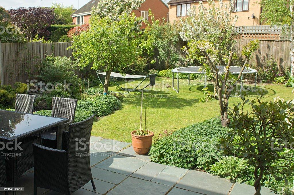 English back garden stock photo