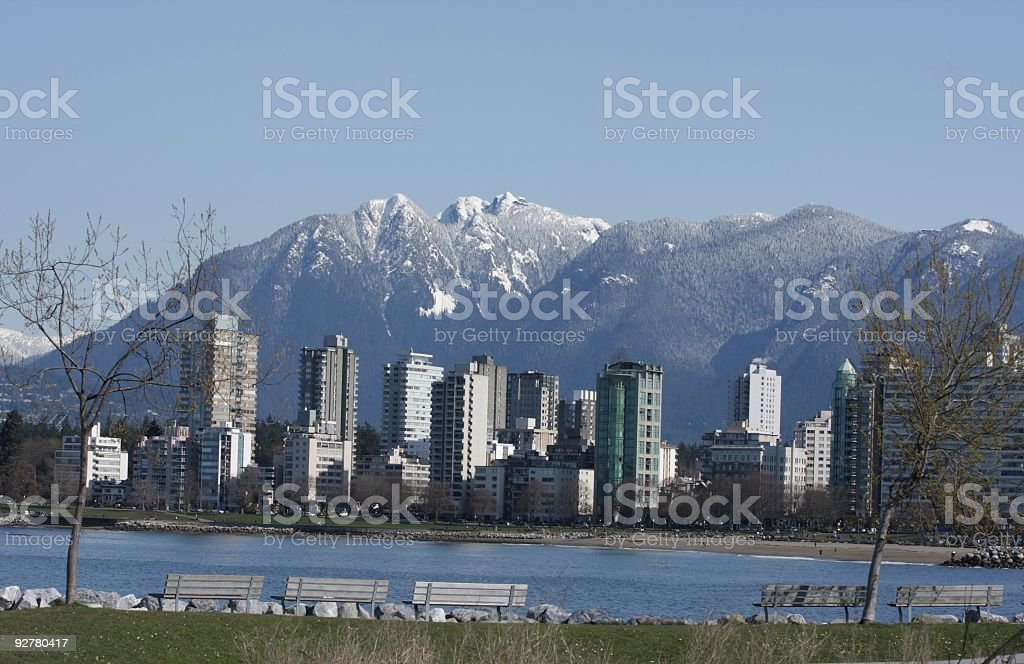 English Bay and West End Towers,  Vancouver in Late Winter stock photo