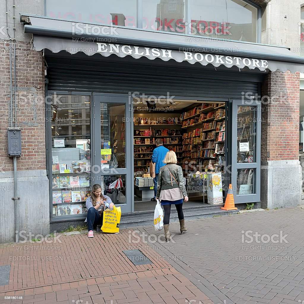 English bookstore in Amsterdam stock photo