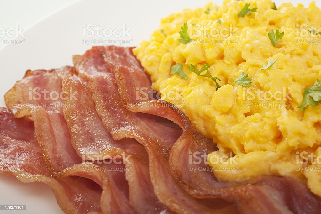 English Breakfast Bacon and Scrambled Egg Close-up royalty-free stock photo