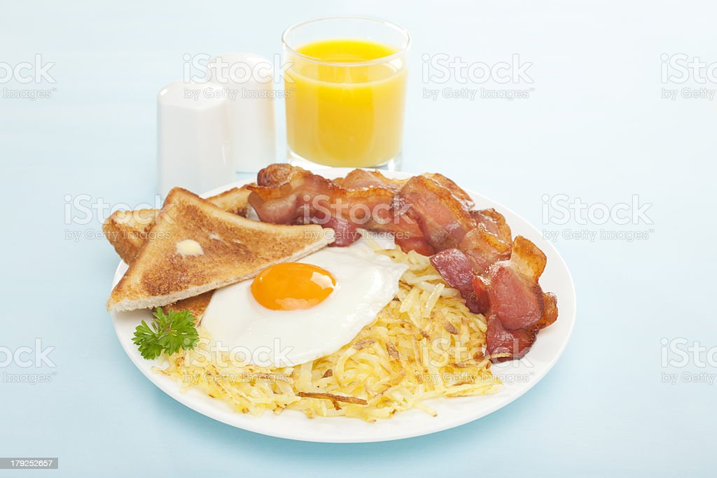 English Breakfast Hash Browns Bacon Fried Egg Toast Orange Juice stock photo