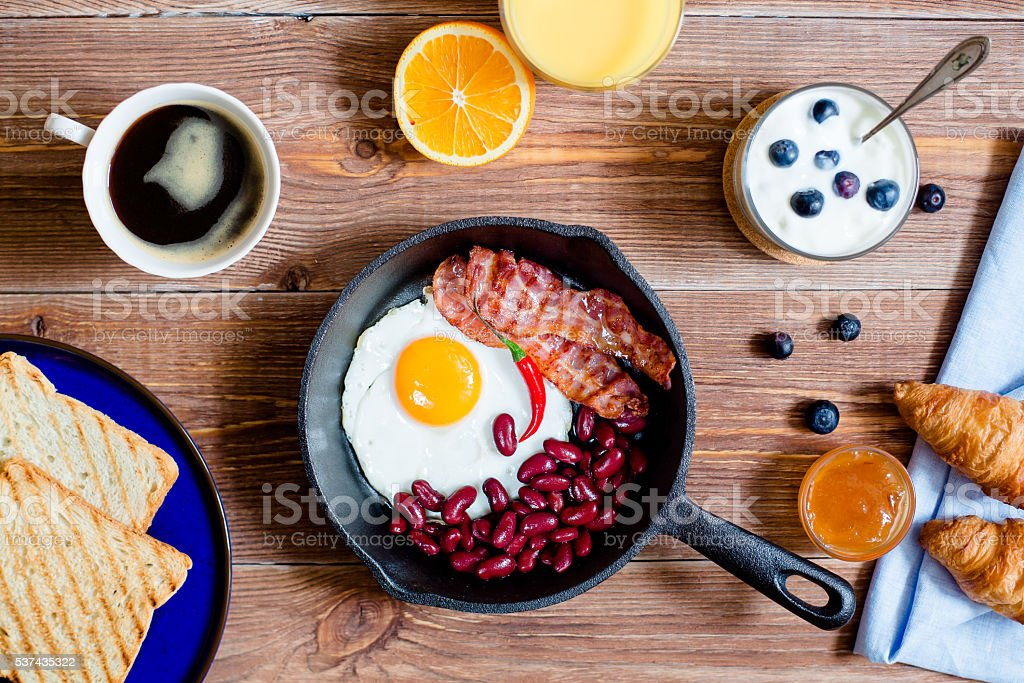 english breakfast in rustic style stock photo