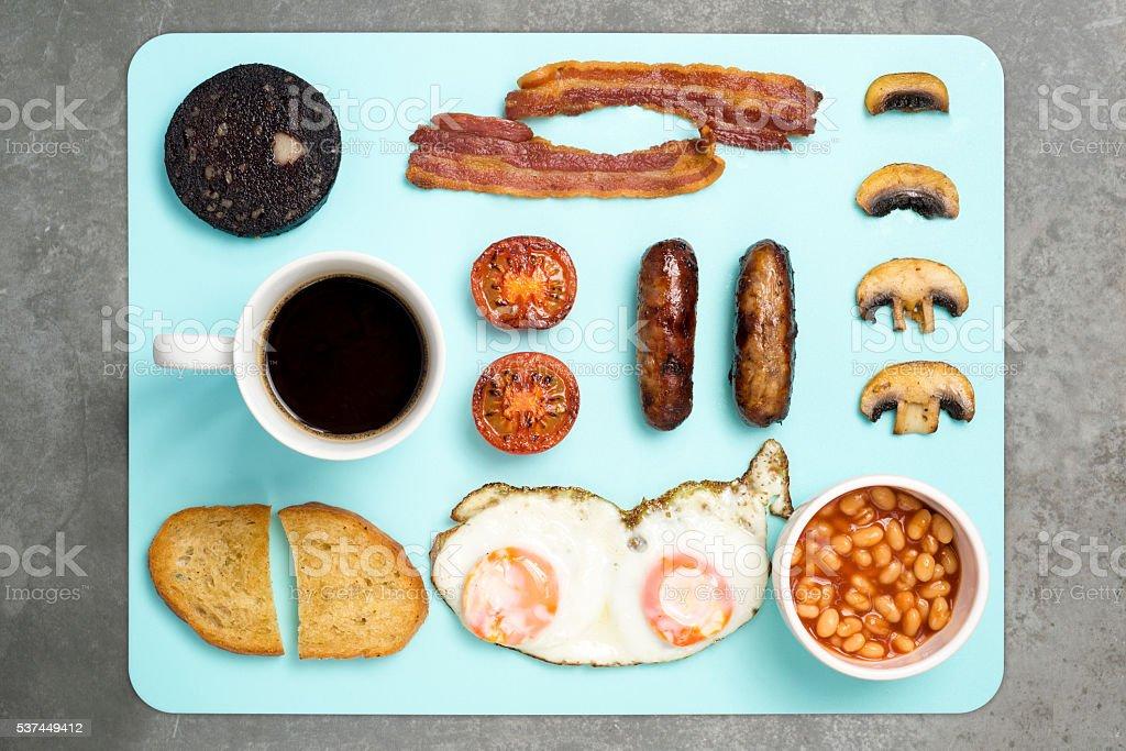 English Breakfast on blue dining mat stock photo
