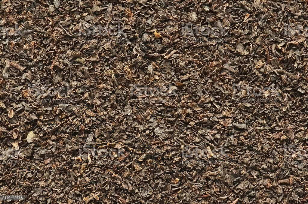 English Breakfast tea leaves background from overhead royalty-free stock photo