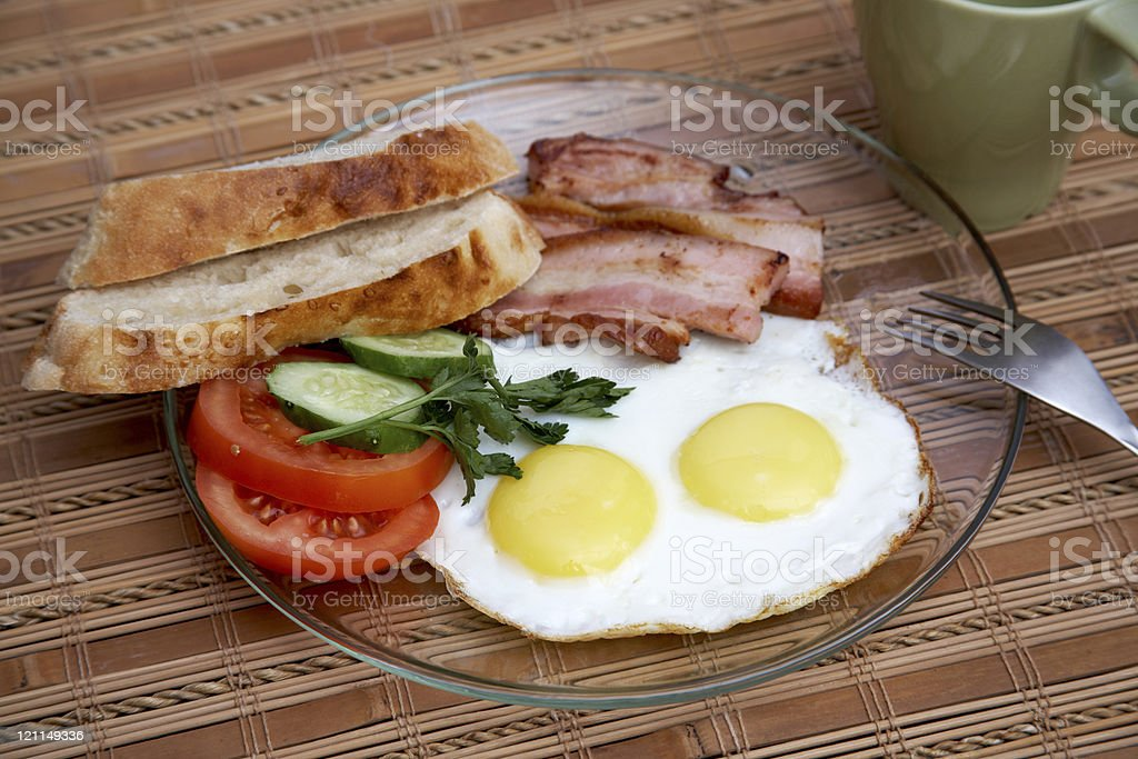 English breakfast with fried eggs stock photo