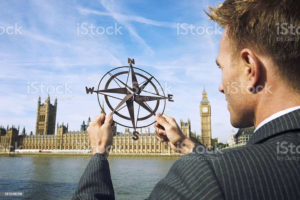 English Businessman Politician MP Holds Compass Westminster Palace London royalty-free stock photo