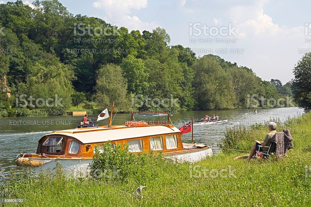 English canal with lock and narrowboat stock photo