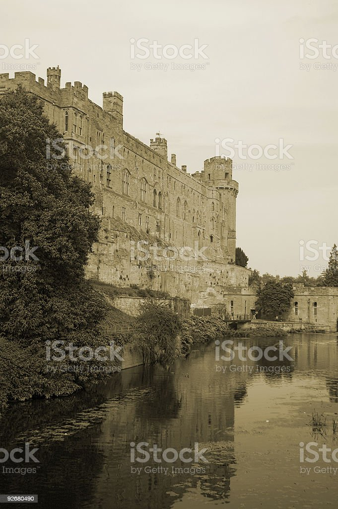 English Castle in sepia royalty-free stock photo