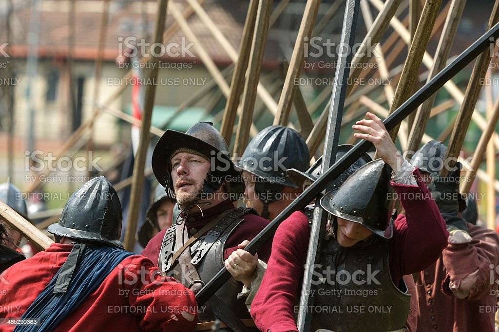 English Civil War Society members re-enact the Battle of Chippenham. stock photo