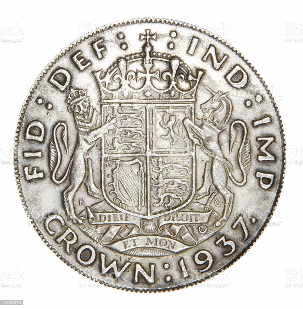 English coin from silver stock photo