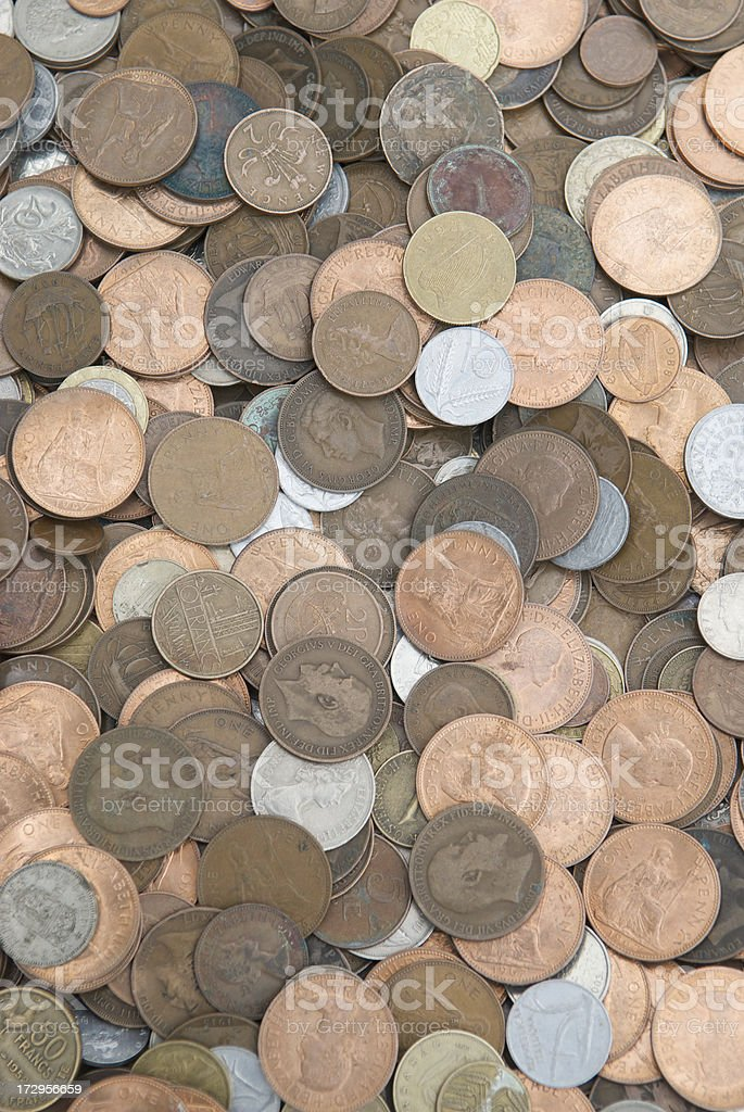 English Coins Full Frame Vertical royalty-free stock photo