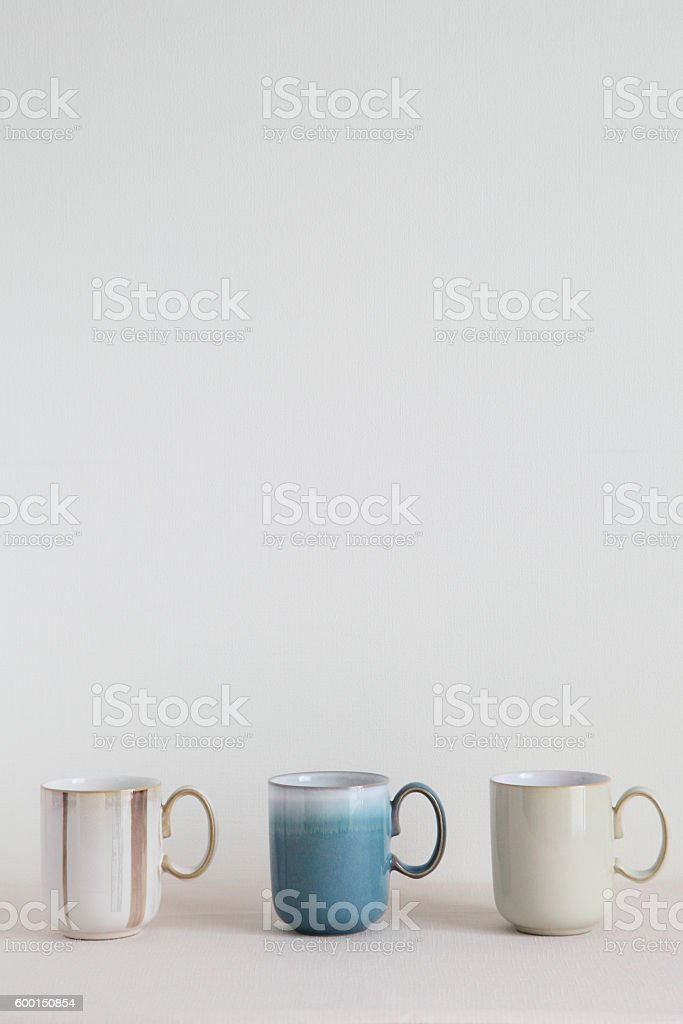 English Colorful Pottery - Mugs stock photo