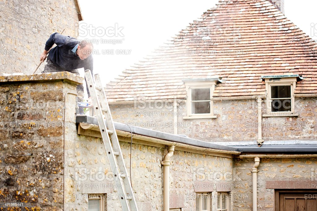 English country house maintainance stock photo