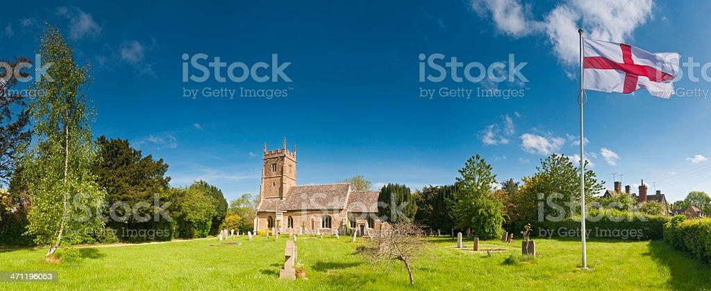 English country scene idyllic churchyard flag stock photo