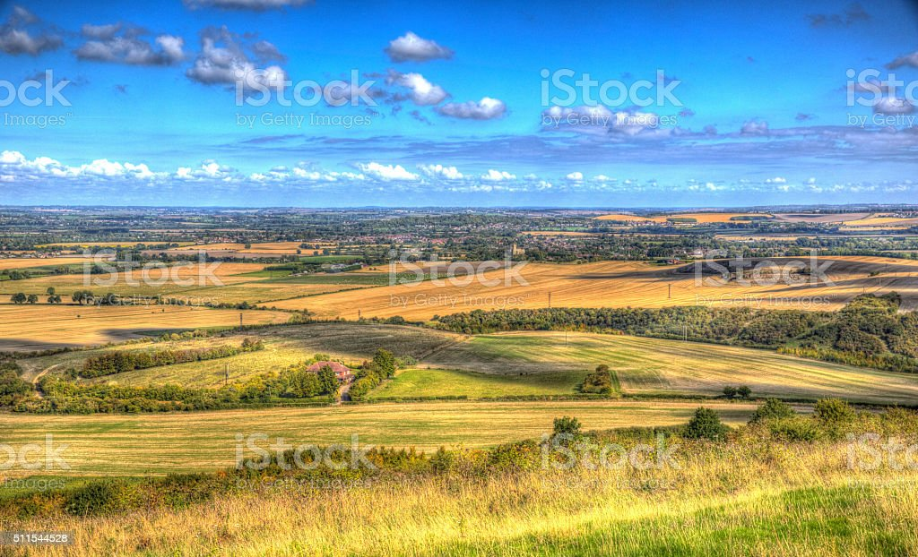 English countryside Chiltern Hills Buckinghamshire England UK in colourful HDR stock photo