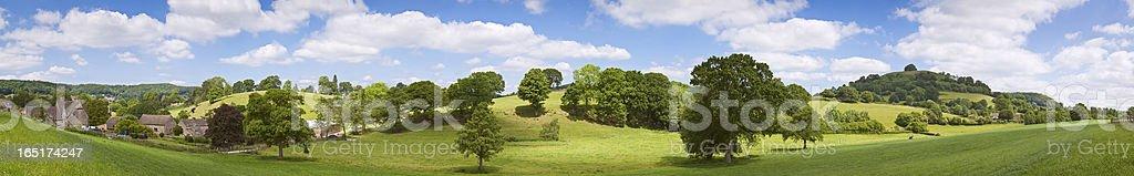 English countryside farmland summer panorama. royalty-free stock photo