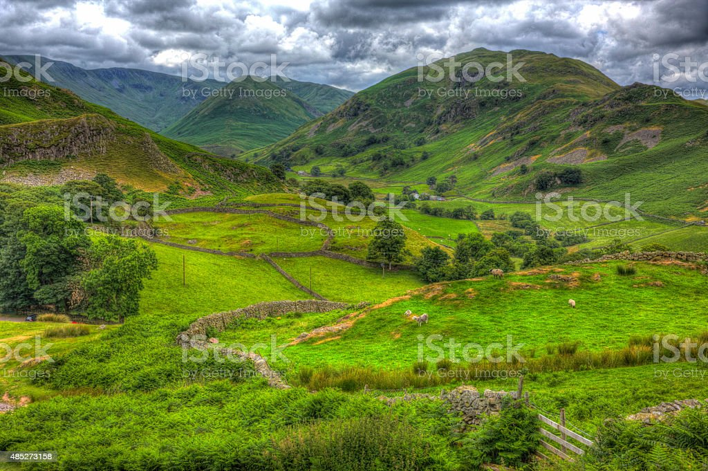 English countryside scene the Lake District valley and mountains stock photo