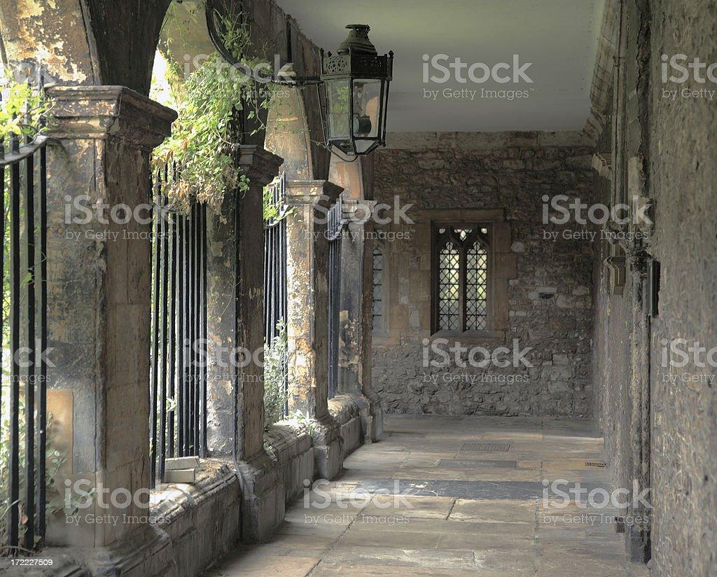 English courtyard, corridor. royalty-free stock photo