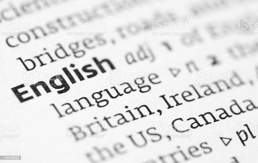 English definition in a dictionary stock photo