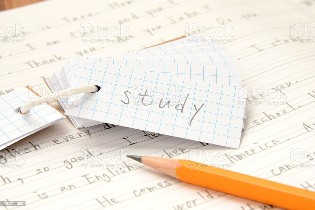 English education, vocabulary notebook and pencil on notebook stock photo