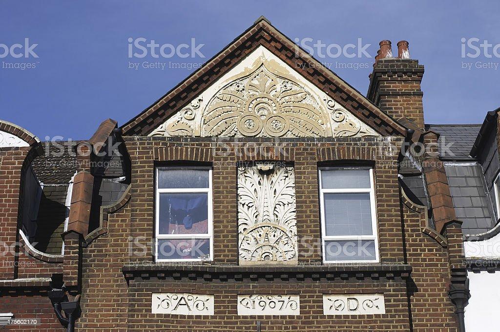 English Edwardian architecture 1907 house decorated facade stock photo