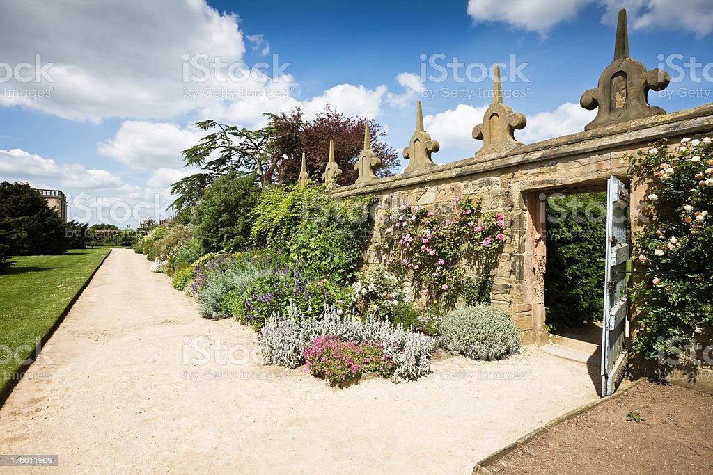 English Elizabethan Walled Garden at Hardwick Hall stock photo