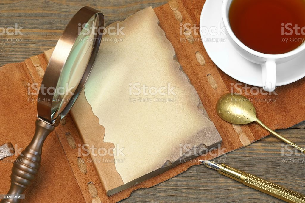 English Famous Private Detective Concept .Tools On The Wood Table stock photo
