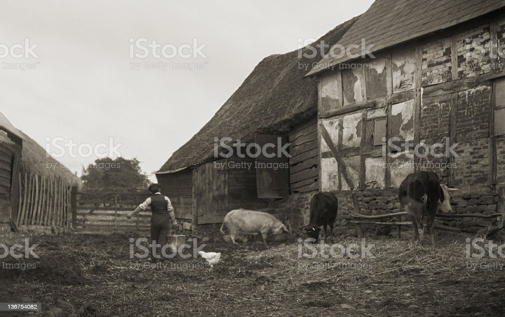 English Farm 1920's Vintage royalty-free stock photo