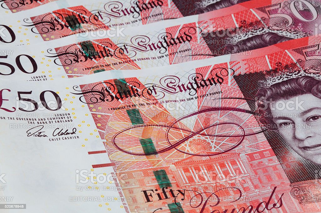 English Fifty Pound Notes. stock photo