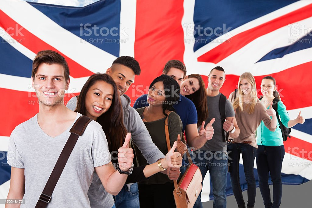 A English flag and a diverse group of people stock photo