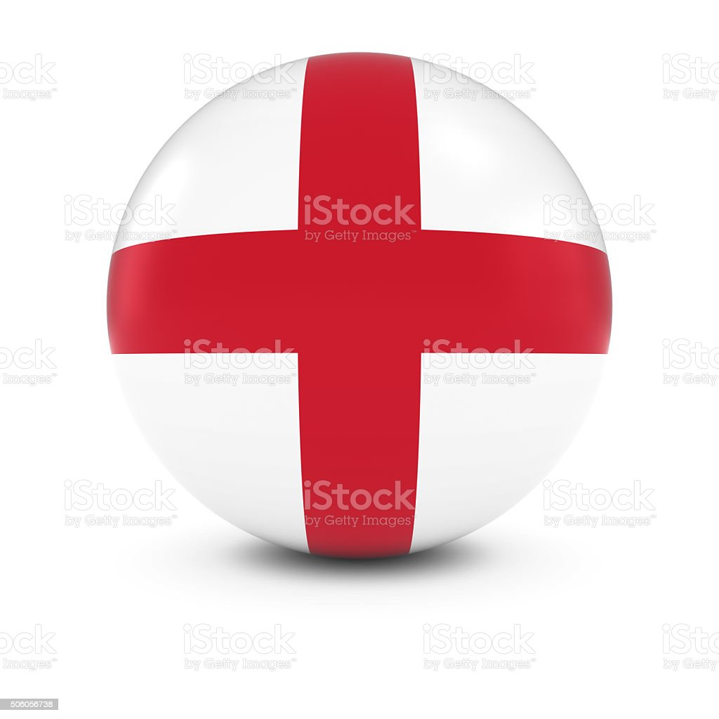 English Flag Ball - Flag of England on Isolated Sphere stock photo