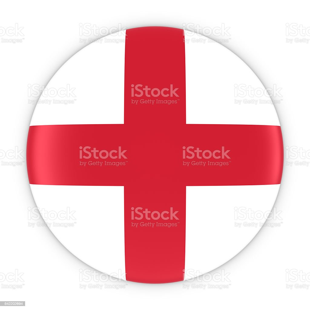 English Flag Button - Flag of England Badge 3D Illustration stock photo