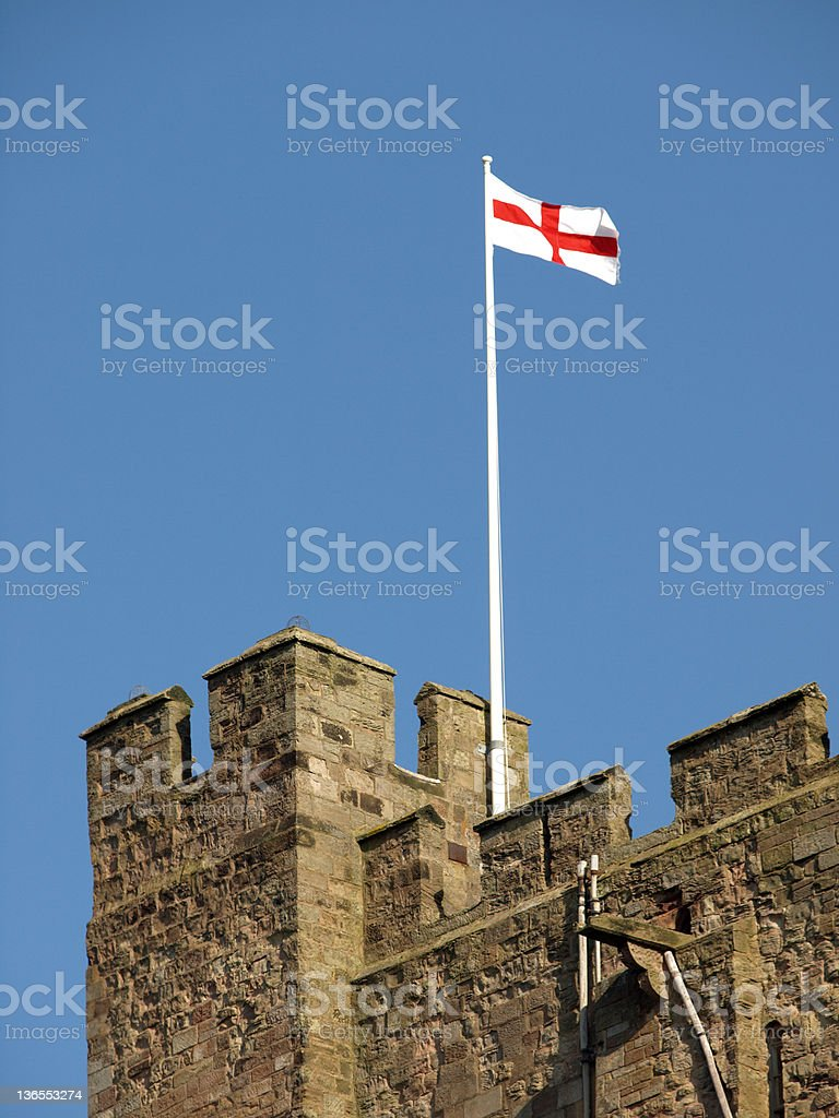 English Flag flying from Castle royalty-free stock photo