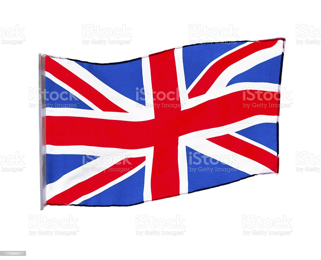 English flag in wind on white background royalty-free stock photo