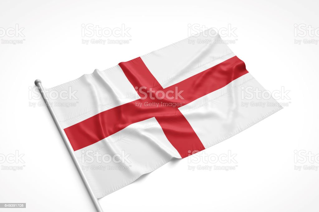 English Flag is Laying on a White Surface stock photo