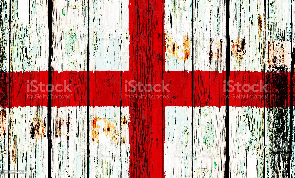 English flag on an old wooden door stock photo