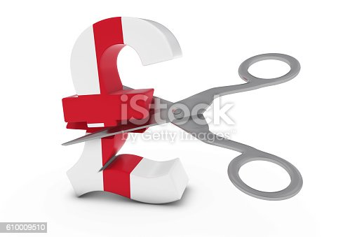 English Flag Pound Symbol Cut In Half With Scissors