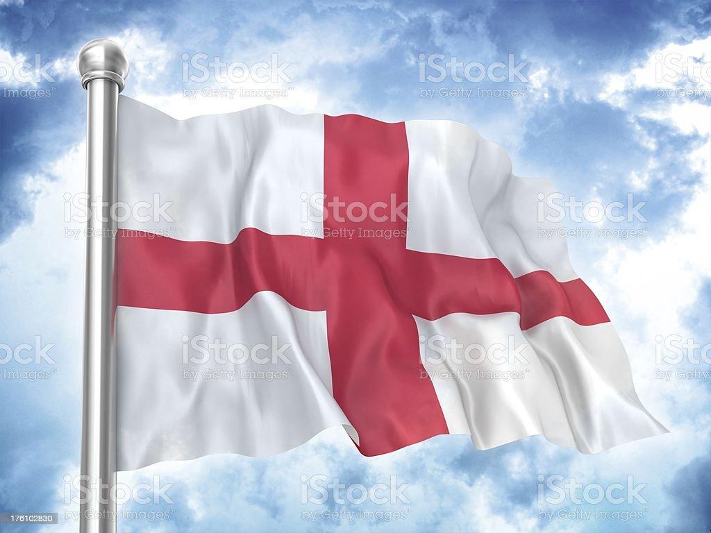 english flag waving on sky royalty-free stock photo
