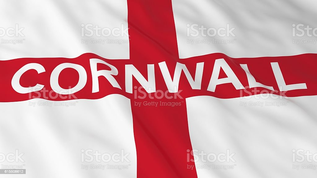 English Flag with Cornwall Text 3D Illustration stock photo