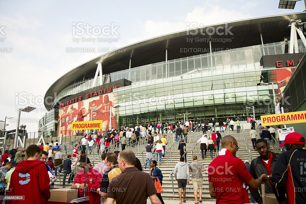 English football supporters going to a match in London royalty-free stock photo