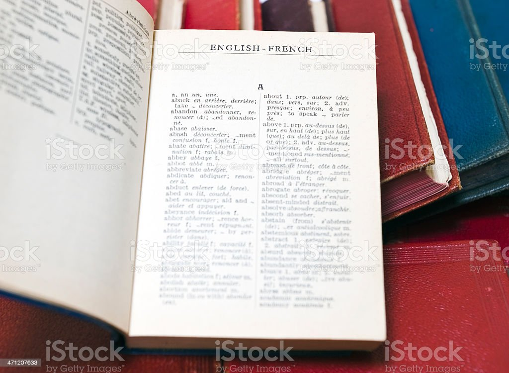 English french dictionary royalty-free stock photo