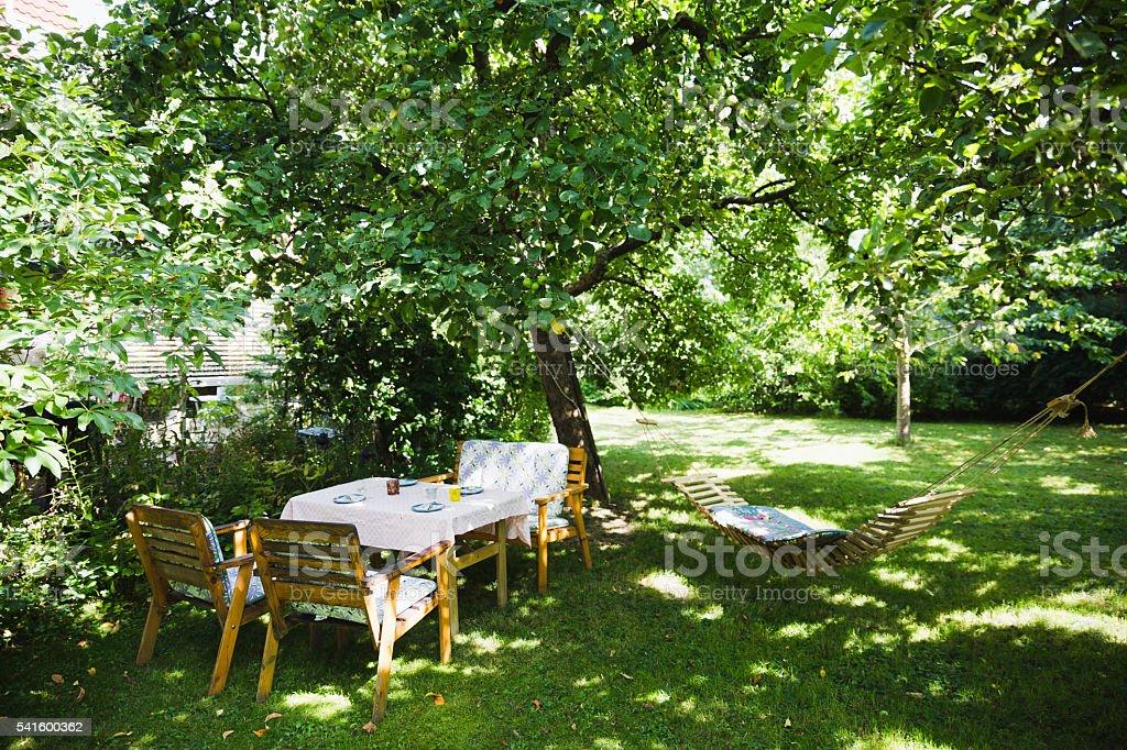 English garden in summer stock photo