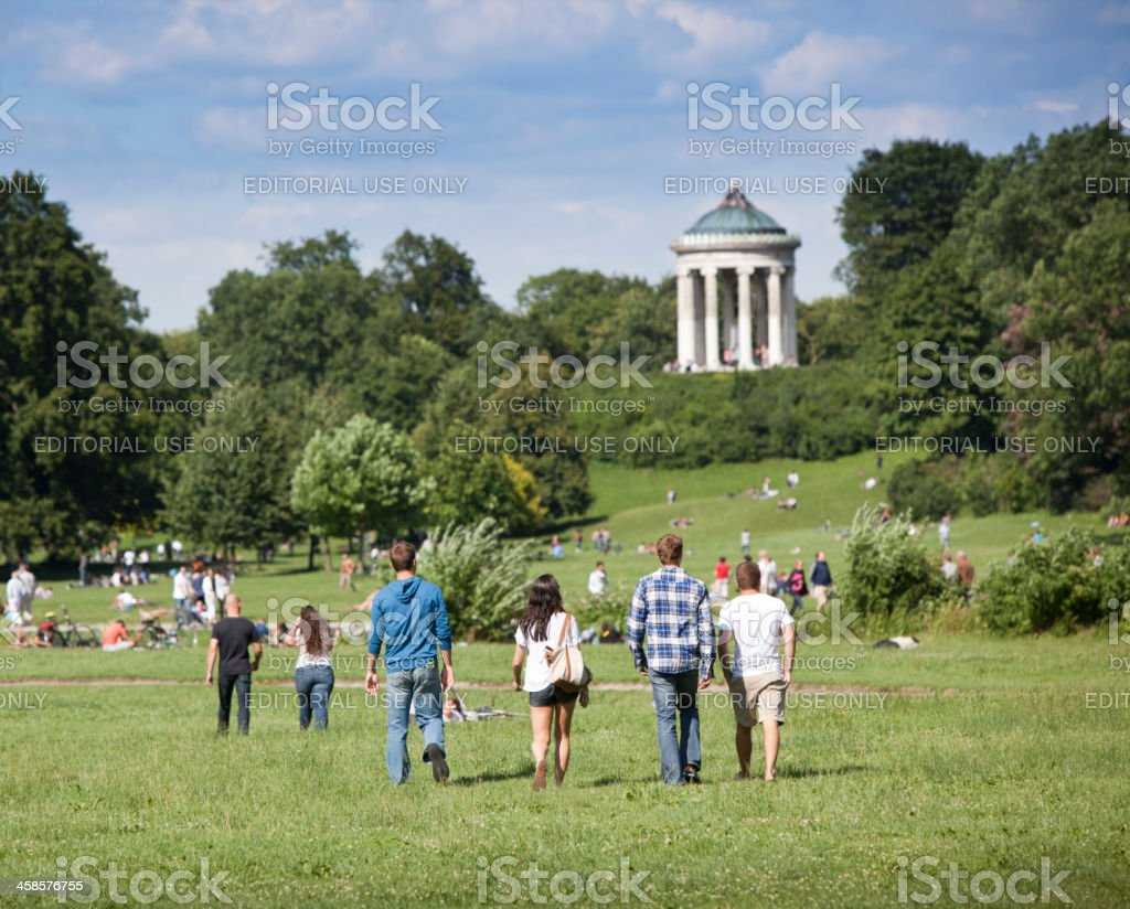 English Garden with Monopteros, Munich, Germany stock photo
