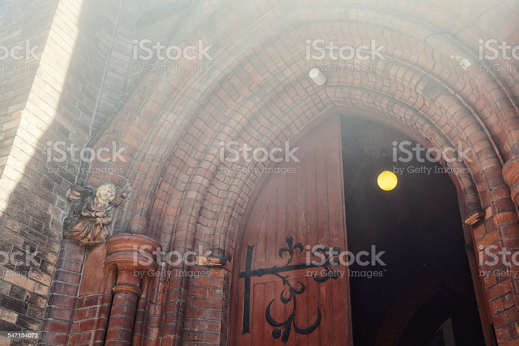English Gothic, The entrance to the Anglican Church stock photo
