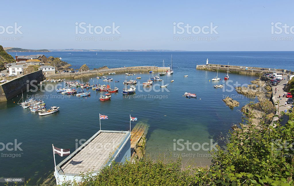 English harbour Mevagissey Cornwall with boats and blue sea royalty-free stock photo