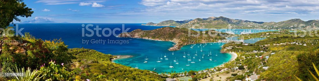 English Harbour Panorama, Antigua stock photo