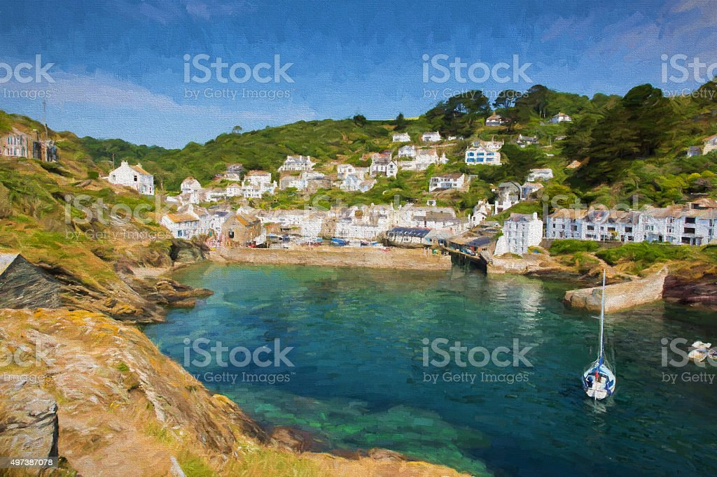 English harbour Polperro Cornwall England illustration like oil painting stock photo