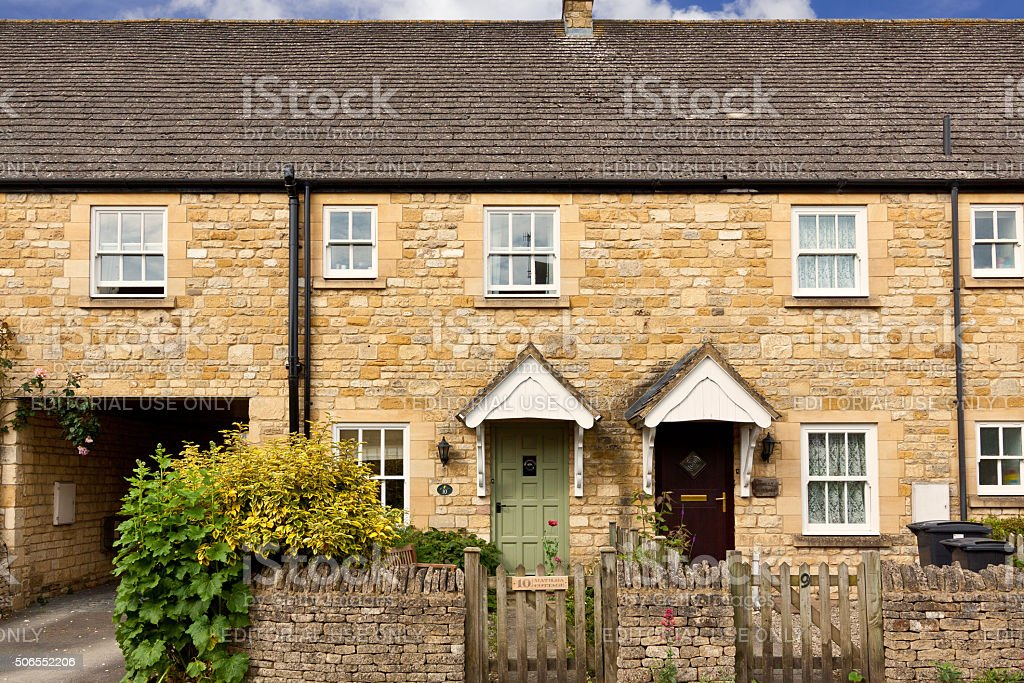 English House in Morning, Chipping Campden, Cotswold, England, United Kingdom. stock photo