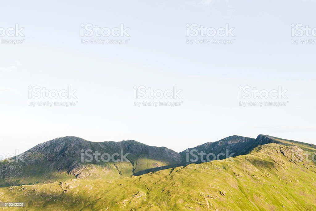 English Lake District: Coniston Fells in evening sunlight stock photo
