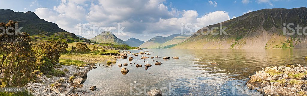 English Lake District golden light on Wastwater panorama royalty-free stock photo